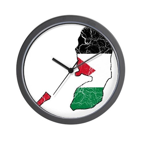 Palestine Flag And Map Wall Clock