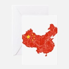 China Flag And Map Greeting Card