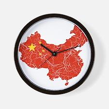 China Flag And Map Wall Clock