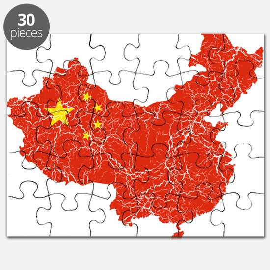 China Flag And Map Puzzle