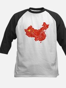 China Flag And Map Kids Baseball Jersey