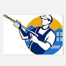 Power Washing Pressure Water Blaster Worker Postca
