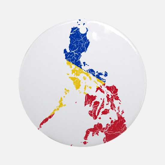 Philippines Flag And Map Ornament (Round)