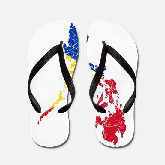 Philippines Flag And Map Flip Flops
