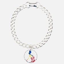Philippines Flag And Map Charm Bracelet, One Charm