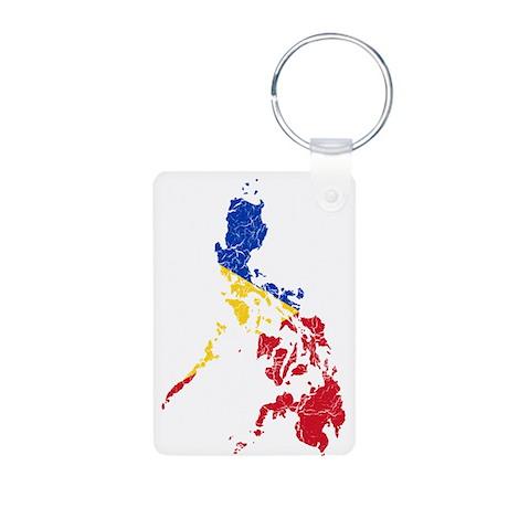 Philippines Flag And Map Aluminum Photo Keychain