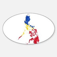 Philippines Flag And Map Sticker (Oval)