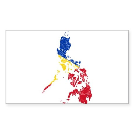 Philippines Flag And Map Sticker (Rectangle)