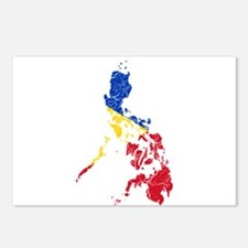 Philippines Flag And Map Postcards (Package of 8)