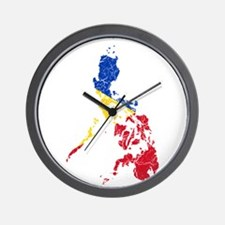 Philippines Flag And Map Wall Clock