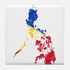 Philippines Flag And Map Tile Coaster
