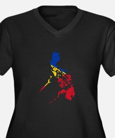 Philippines Flag And Map Women's Plus Size V-Neck