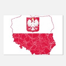 Poland State Ensign Flag And Map Postcards (Packag