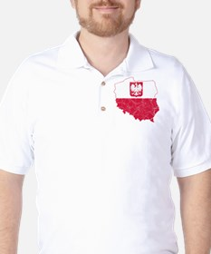 Poland State Ensign Flag And Map T-Shirt