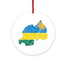 Rwanda Flag And Map Ornament (Round)