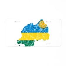 Rwanda Flag And Map Aluminum License Plate