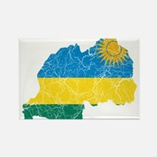 Rwanda Flag And Map Rectangle Magnet