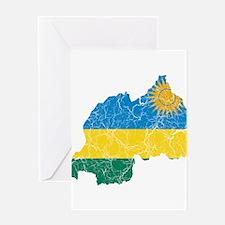 Rwanda Flag And Map Greeting Card