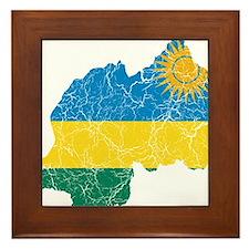 Rwanda Flag And Map Framed Tile