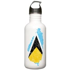 Saint Lucia Flag And Map Water Bottle