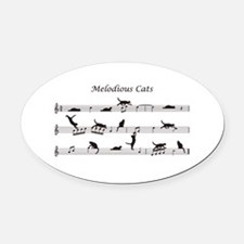 Melodious Cats Oval Car Magnet
