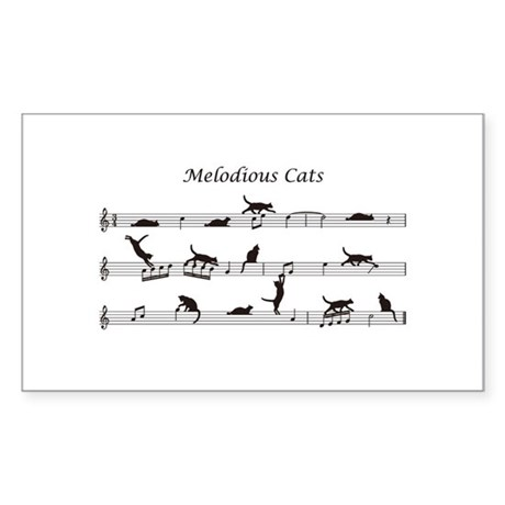 Melodious Cats Sticker (Rectangle)