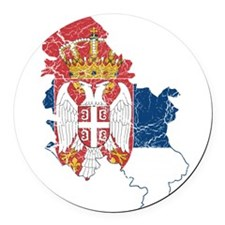 Serbia Flag And Map Round Car Magnet