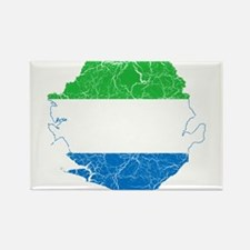 Sierra Leone Flag And Map Rectangle Magnet (10 pac