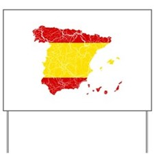 Spain Flag And Map Yard Sign