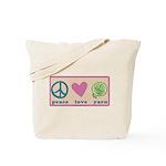 Peace Love Yarn 3-ply.png Tote Bag