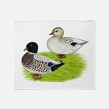 Snowy Call Ducks Throw Blanket