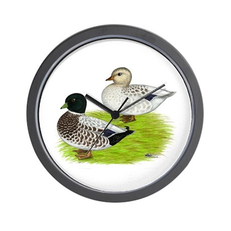 Snowy Call Ducks Wall Clock