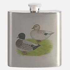Snowy Call Ducks Flask