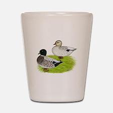 Snowy Call Ducks Shot Glass