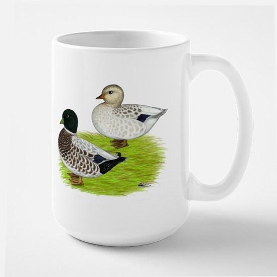 Snowy Call Ducks Large Mug
