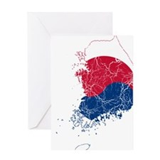 South Korea Flag And Map Greeting Card
