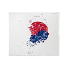 South Korea Flag And Map Throw Blanket