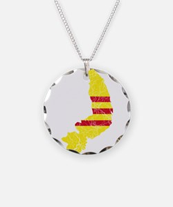 South Vietnam Flag And Map Necklace