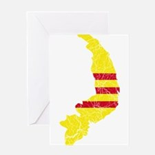 South Vietnam Flag And Map Greeting Card