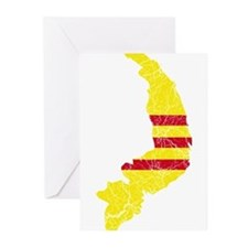 South Vietnam Flag And Map Greeting Cards (Pk of 1