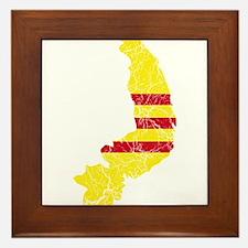 South Vietnam Flag And Map Framed Tile