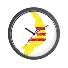 South Vietnam Flag And Map Wall Clock