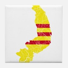 South Vietnam Flag And Map Tile Coaster