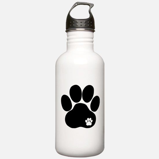Double Paw Print Water Bottle