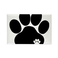 Double Paw Print Rectangle Magnet