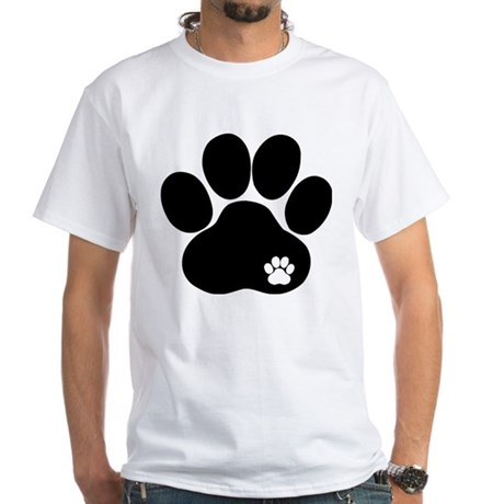 Double Paw Print White T-Shirt