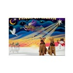 XmasSunrise/2 Airedales Rectangle Magnet (10 pack)