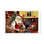 Santas Airedale Rectangle Car Magnet