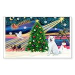 Xmas Magic & Akita Sticker (Rectangle 50 pk)