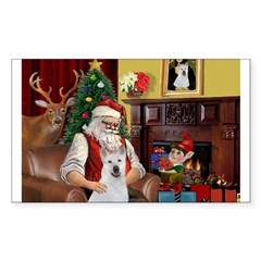 Santa & Akita Sticker (Rectangle 10 pk)